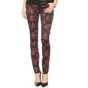 7 FOR ALL MANKIND ROSE PRINT SKINNY JEANS SIZE 28